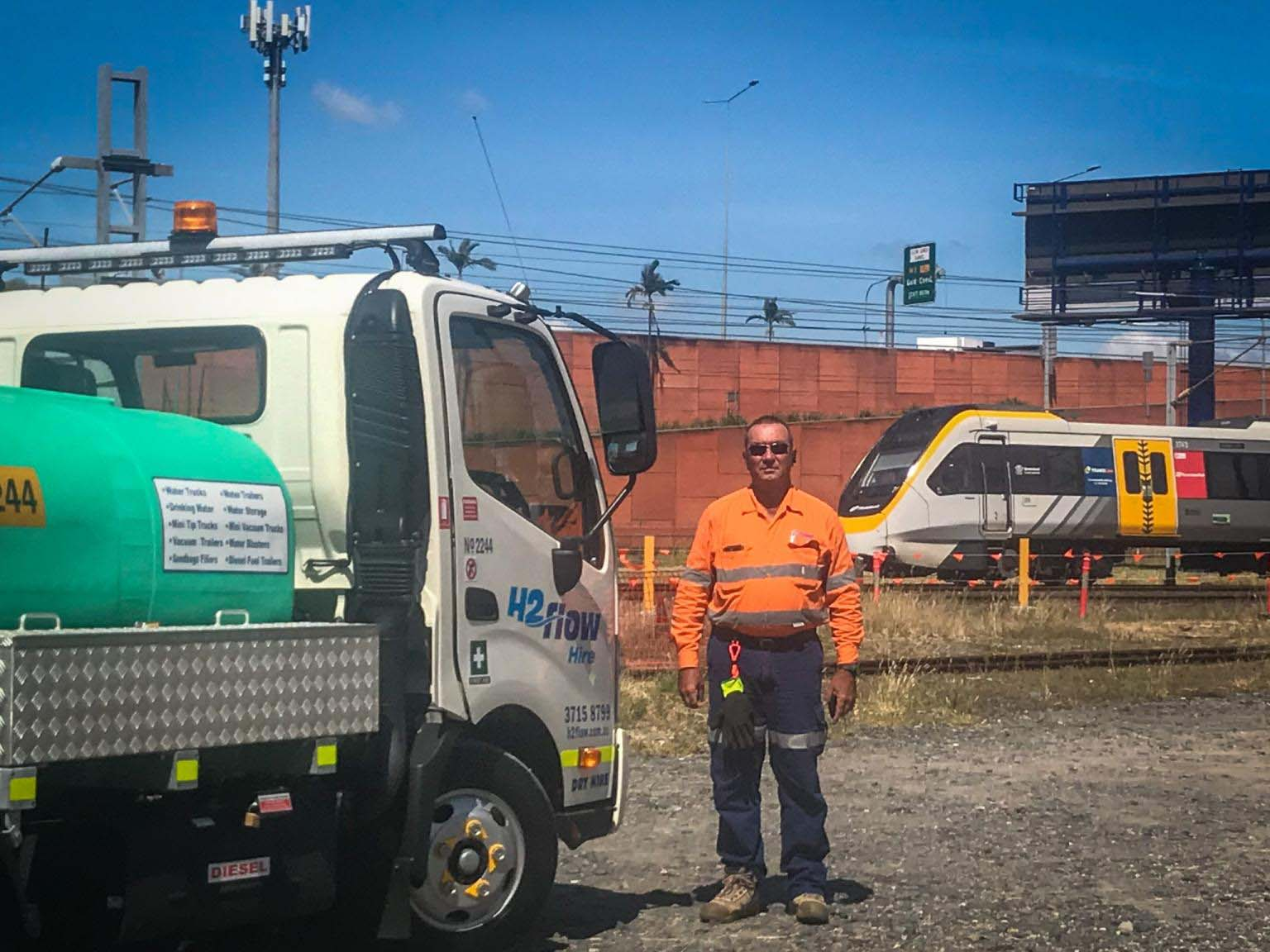 H2flow Hire General Manager Anthony Betts after delivering a 2000 litre dry hire water truck for Queensland Rail.