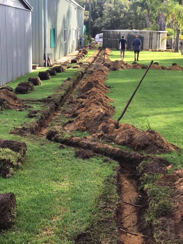 excavating reticulation trenches in Karnup WA