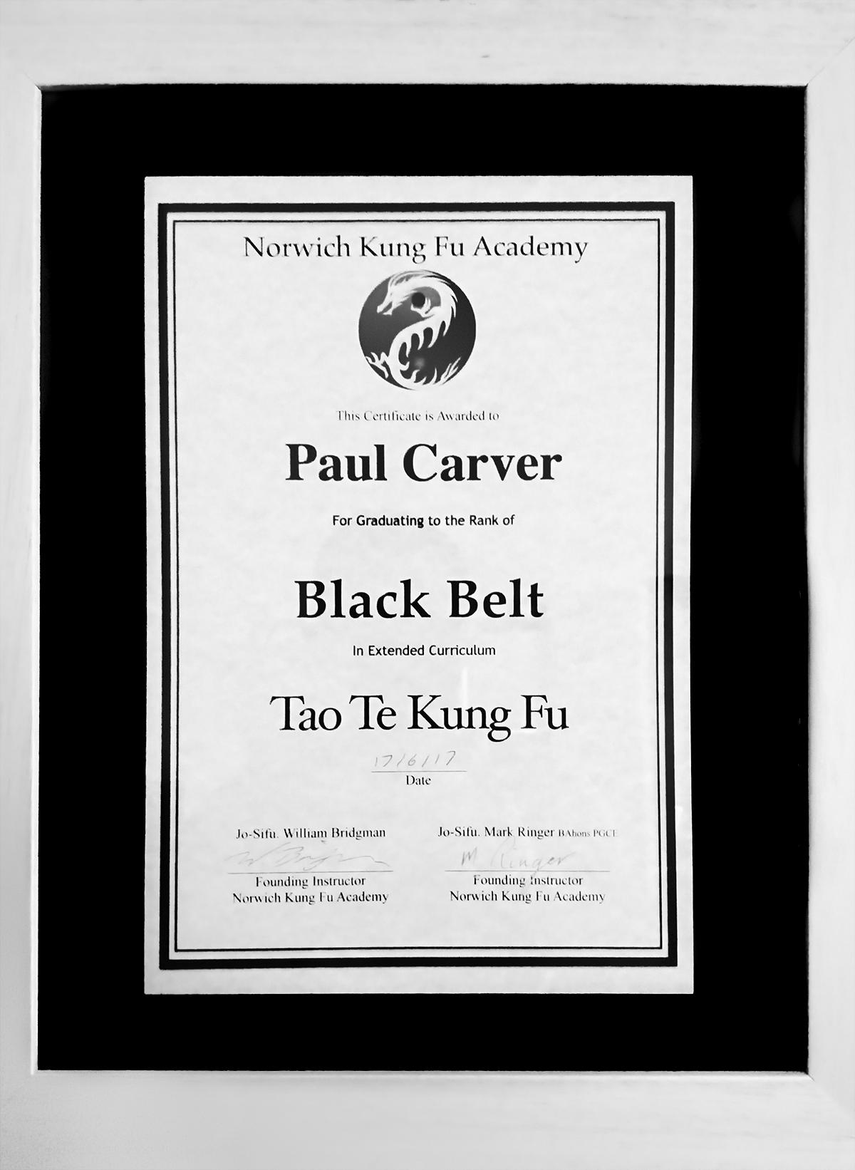A Kung Fu certificate of P Carver's black belt in Tao Te Kung Fu
