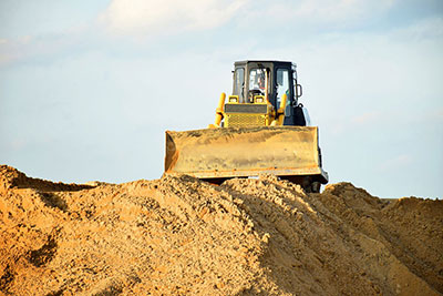 365-Plant-Hire-yellow-dozer-Belmont-on-dirt-hill-midday