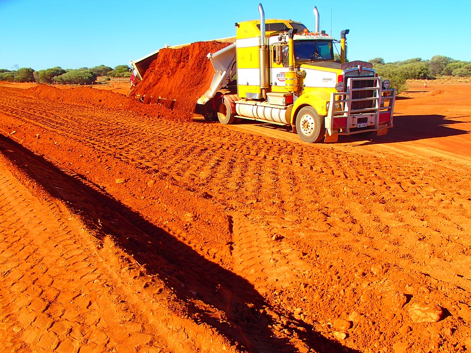 Fivestar Earthmoving Tipper moving red dirt