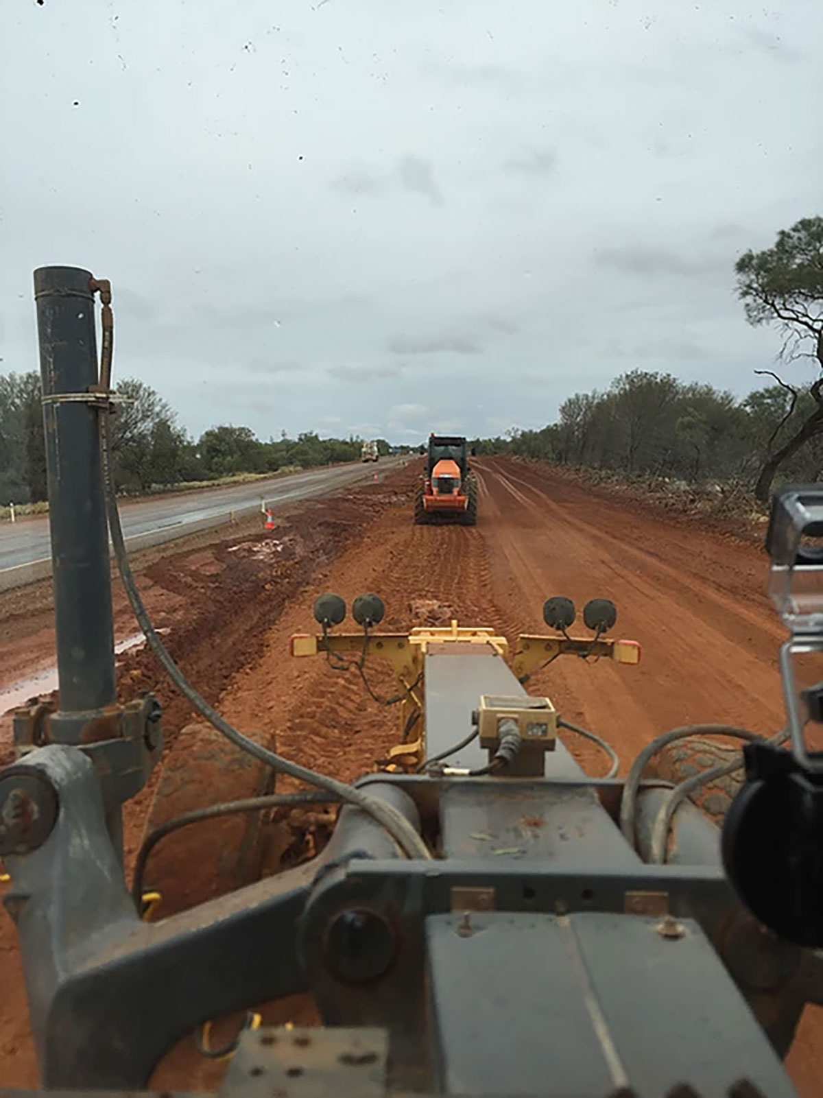 Fivestar Earthmoving grading project as viewed from the drivers seat
