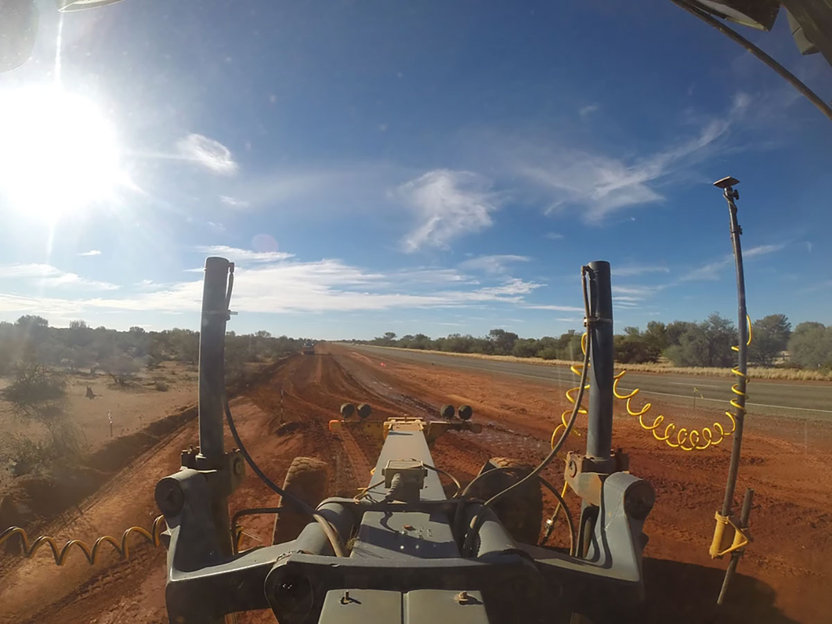 View from the drivers seat of Fivestar Earthmoving's grader