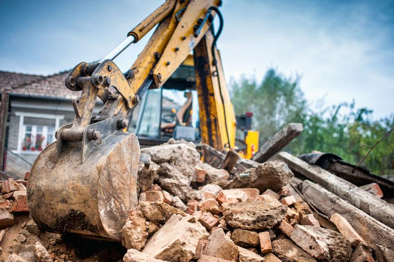 Excavator demolition work