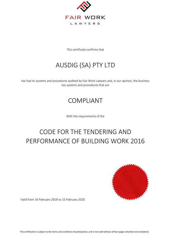 Fair Work Lawyers Code for the Tendering and Performance of Building Work 2016