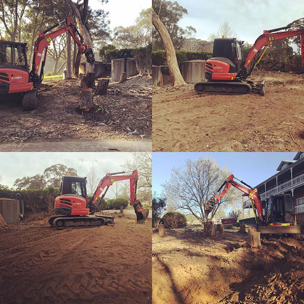 An excavator performing various tasks