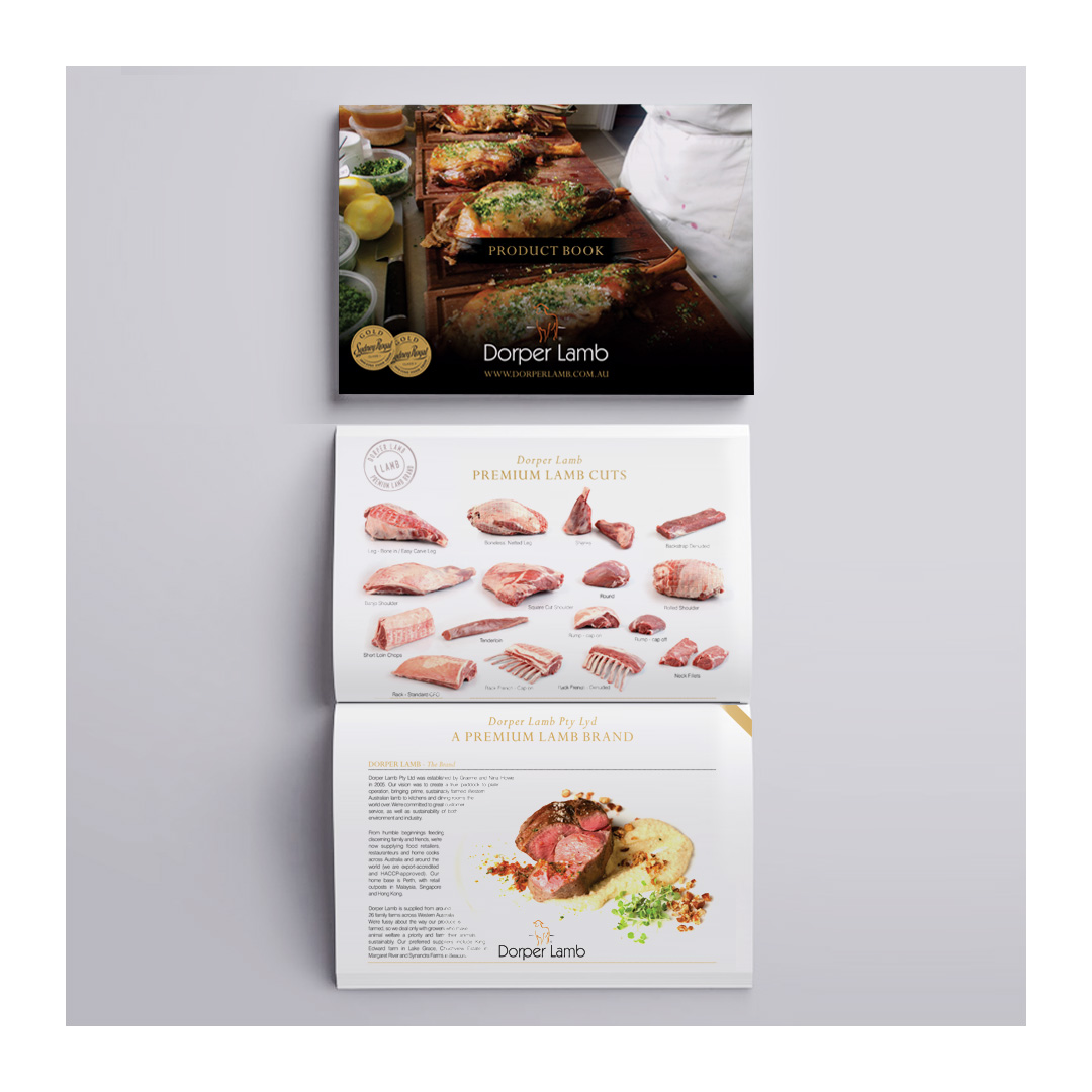 Dorper Lamb brochure opened to page spread