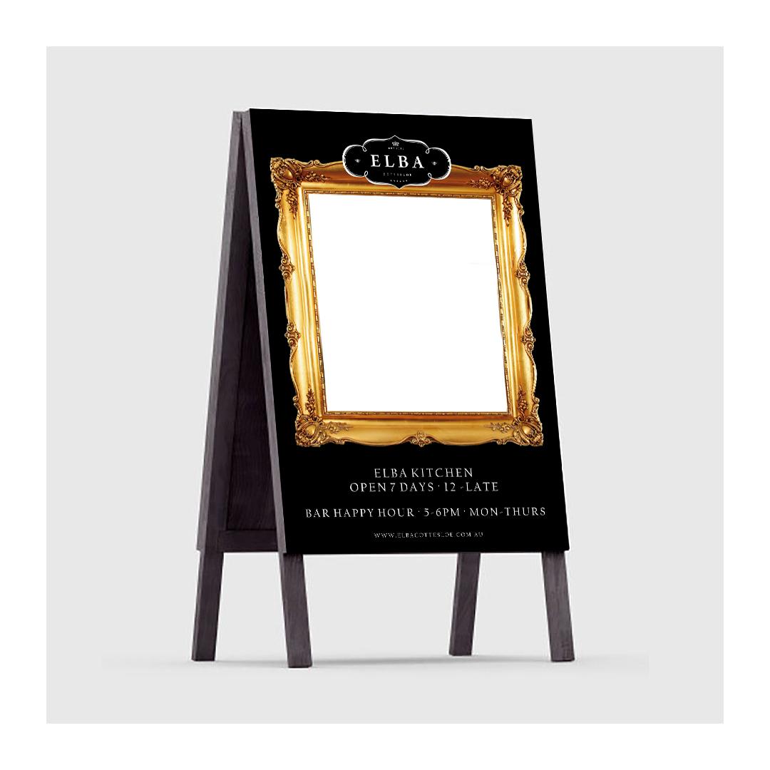 Elba Restaurant white board menu A-frame sign