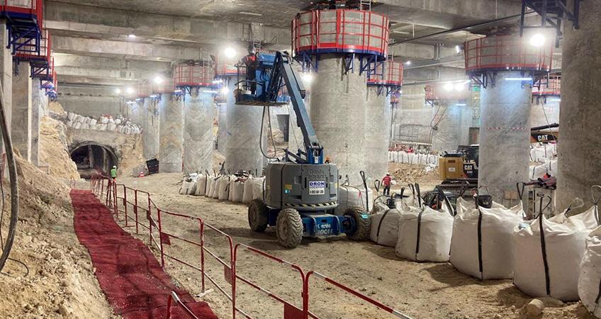 Honcho Supplies Boss Mat pedestrian walkway installed in a tunnel environment