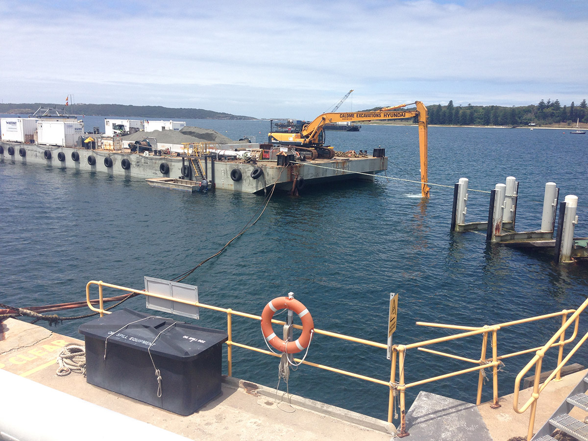 Caldme Excavations kurnell-sydney Excavator barge