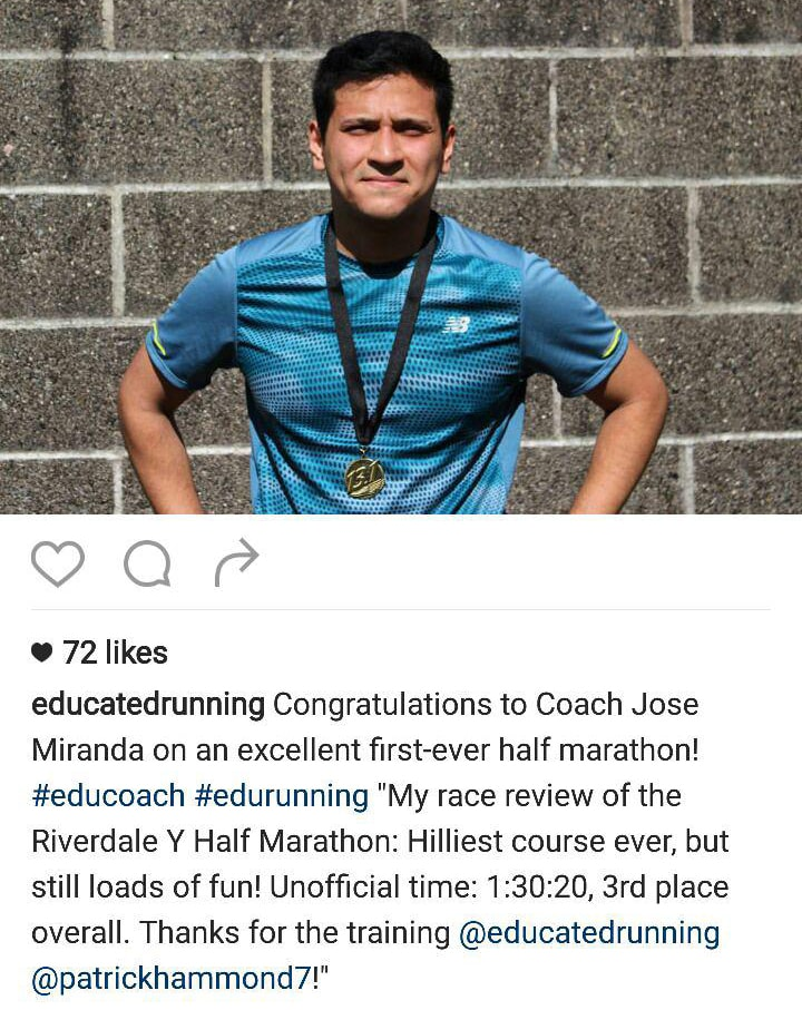 Coach Jose Miranda Riverdale Y Half Marathon Bronx Running Coach Instagram Educated Running