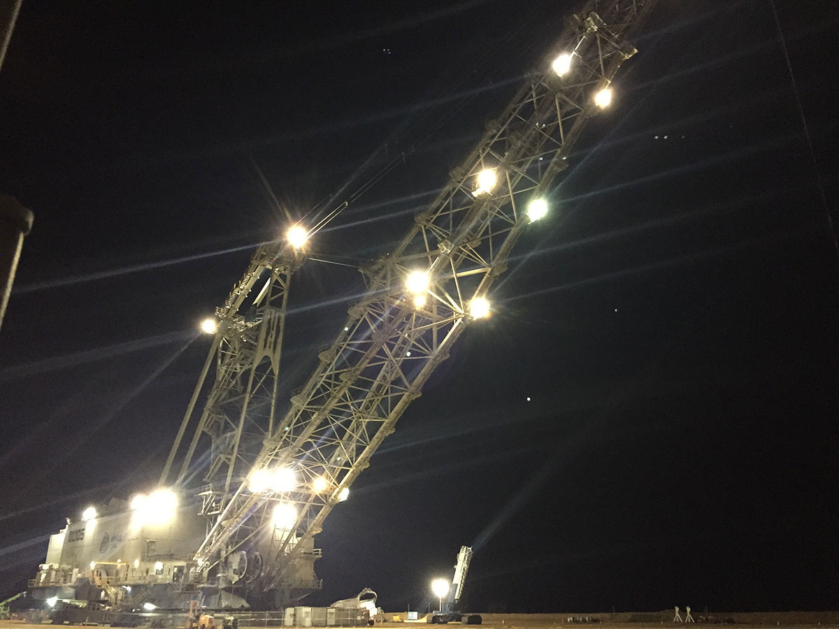 Crane at night