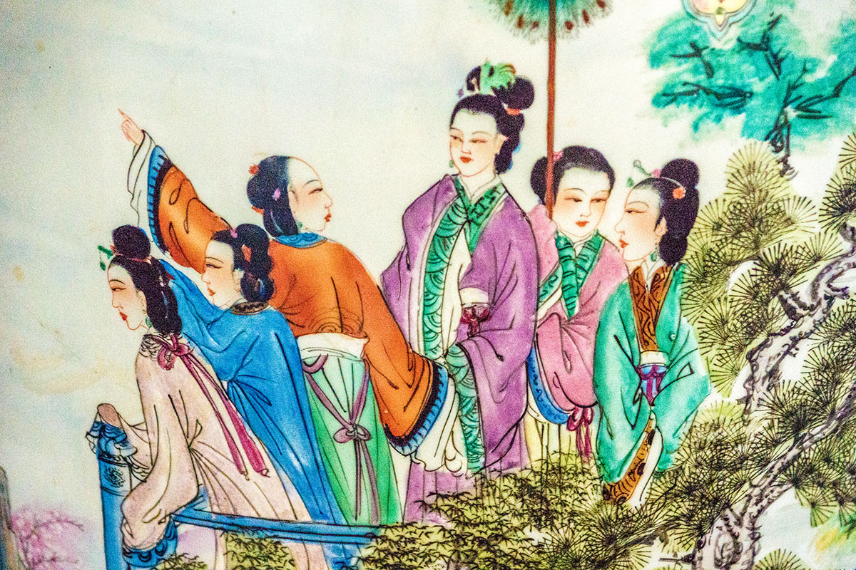 A chinese painting of some geisha ladies representing artwork for P Carver Photography