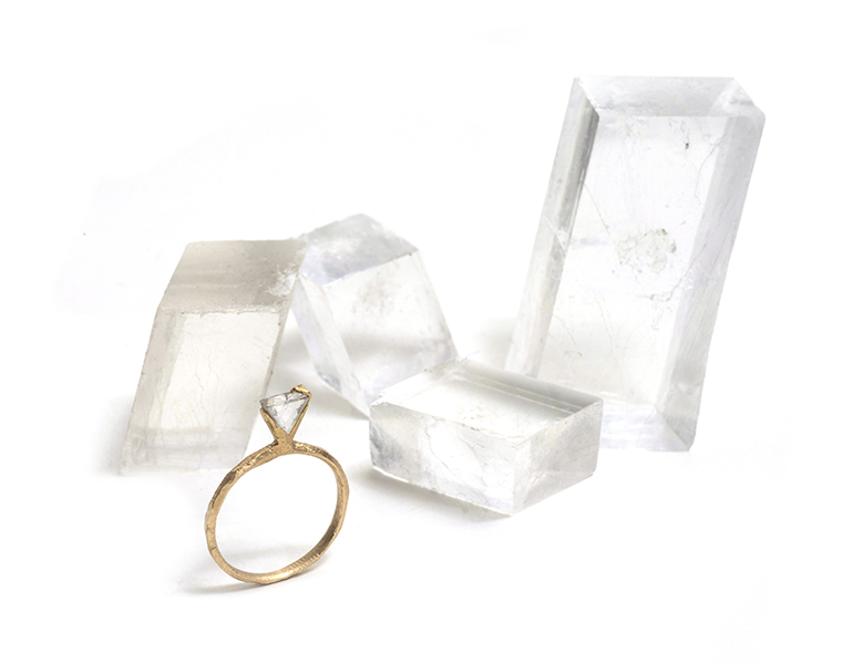 Tessa Blazey: Circe ring rough diamond & 18ct yellow gold   Unique custom engagement ring Melbourne   Contemporary Jewellery
