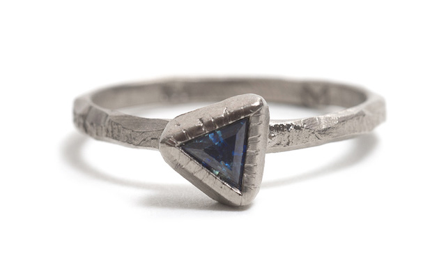 Tessa Blazey | Parti sapphire & 18ct white gold | Unique handmade engagement ring | Melbourne | bespoke ring