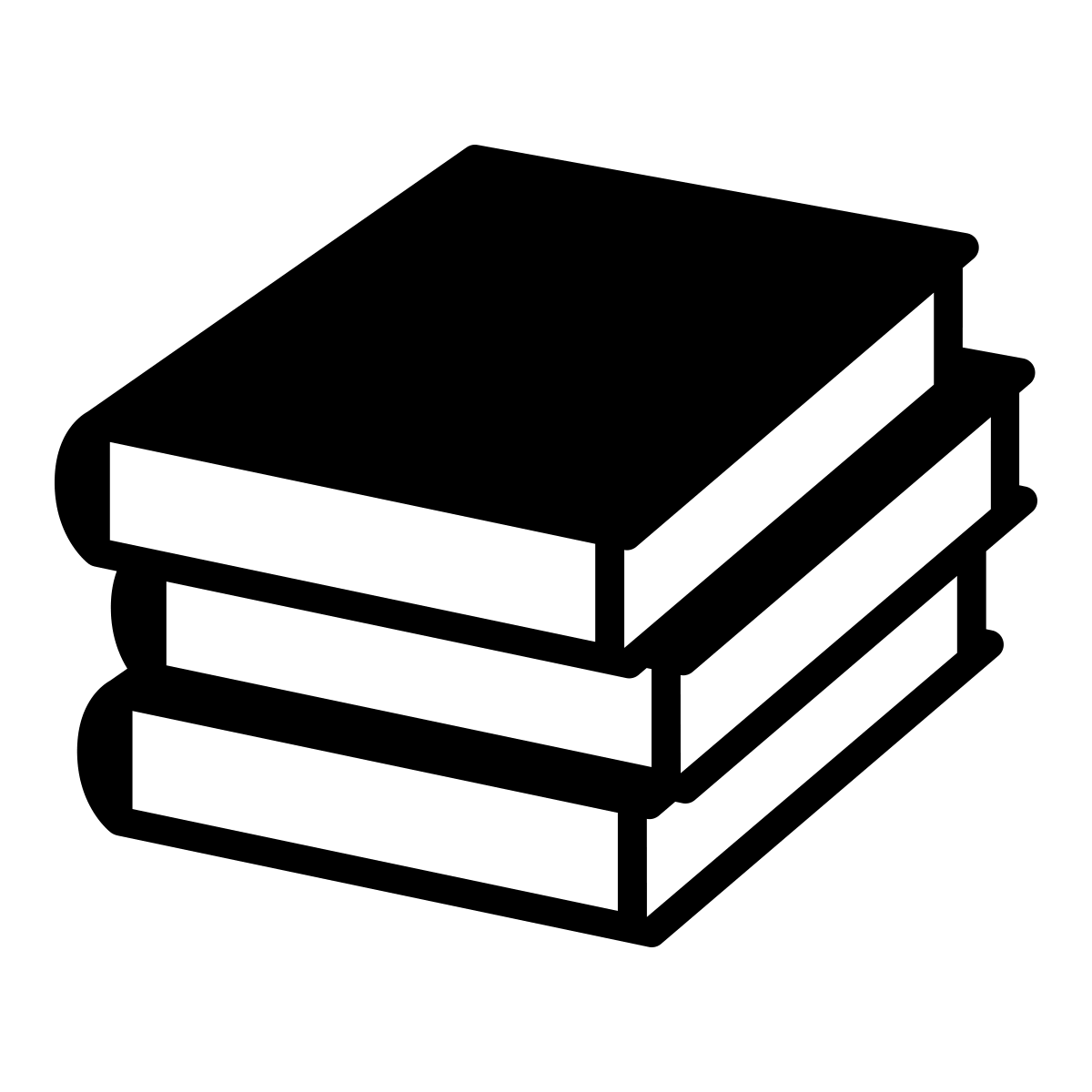 black and white stack of books icon
