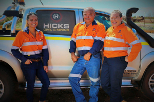 Hicks Civil and Mining Team in front of ute Pilbara