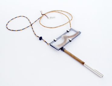 'The Hipster' Sterling silver, wood, hair, microscope glass.