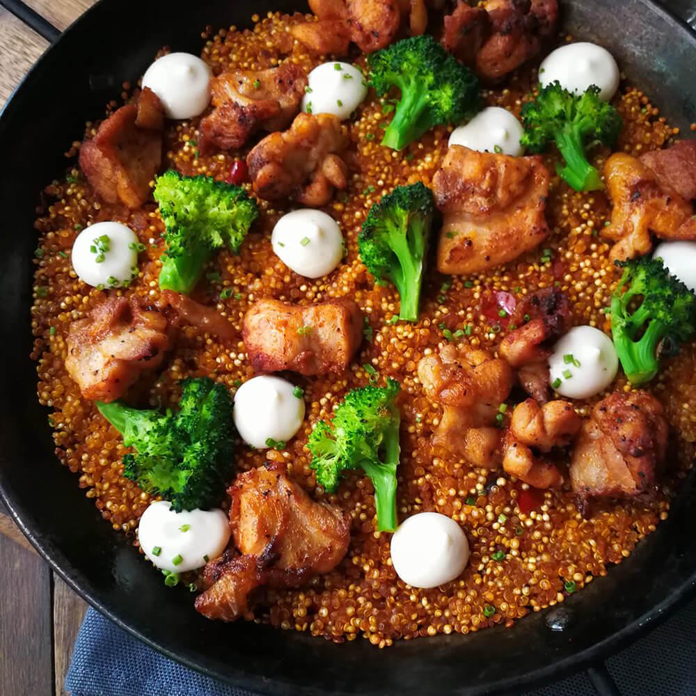 Chicken Quinoa Paella in Bar.Celona, Singapore. The best pairing for Brut Nature Cava.