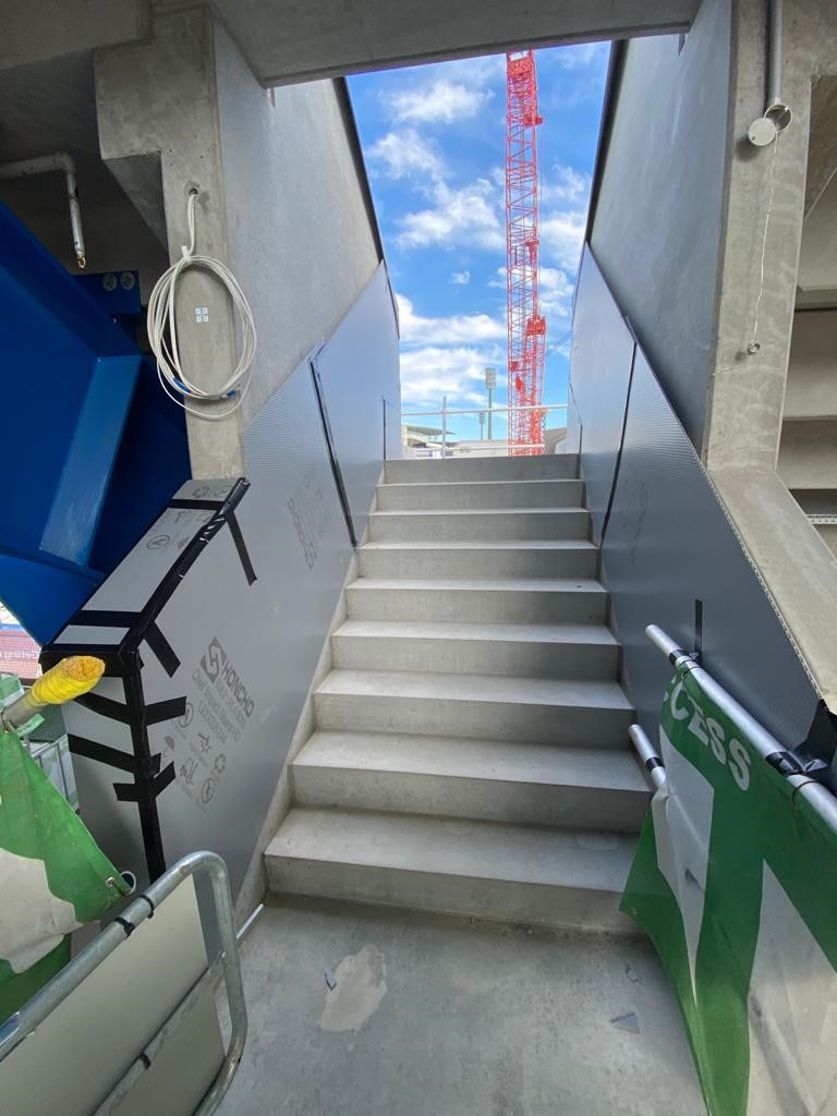 Honcho Impact protection boards protecting concrete on the Sydney Football stadium redevelopment