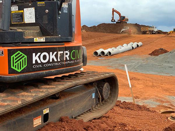 Koker-Civil-Excavator-at-Pipe-Laying-site-Lismore