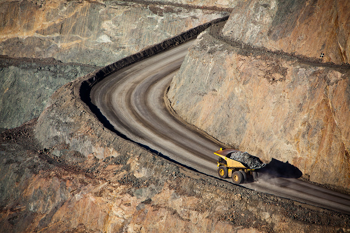 Mining site with dump truck