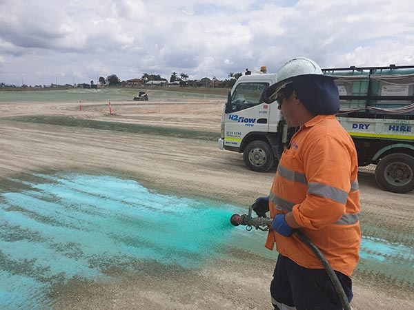 Polymer application using Vital Chemical's dust management and soil stabilisation products for major sites in SEQ