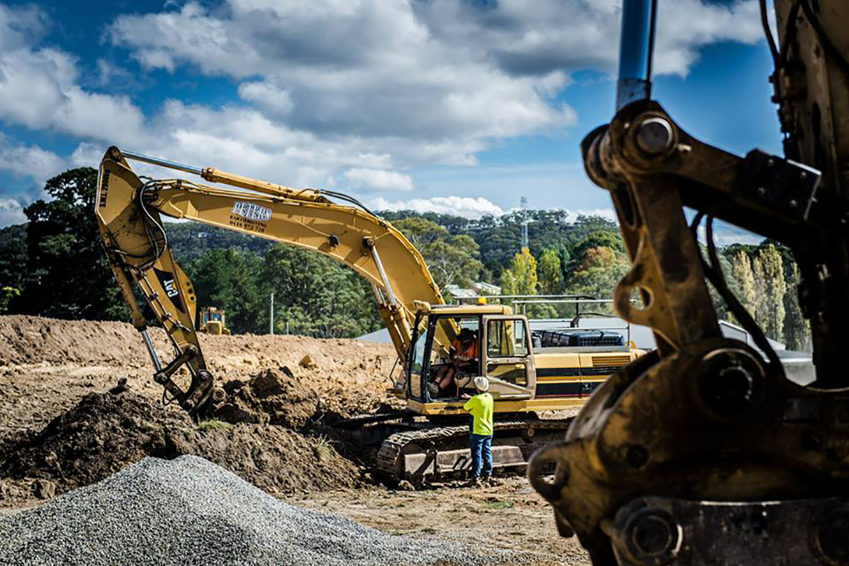 Peters Earthmoving excavator CAT on site
