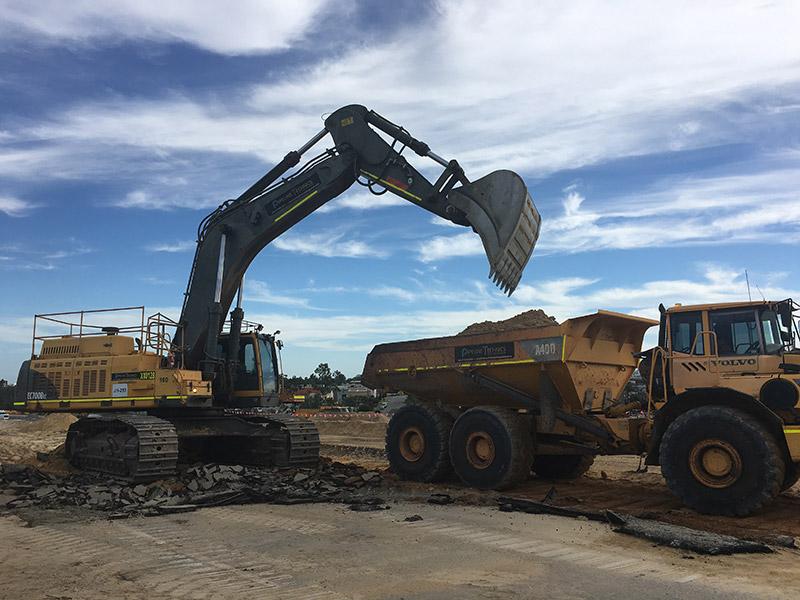 Pipelines Technics Excavator and dump truck