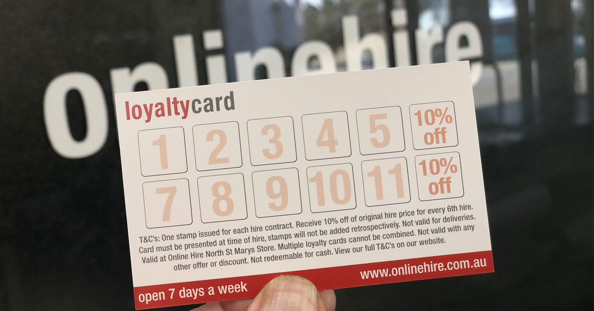 Online Hire's new loyalty card program has launched.