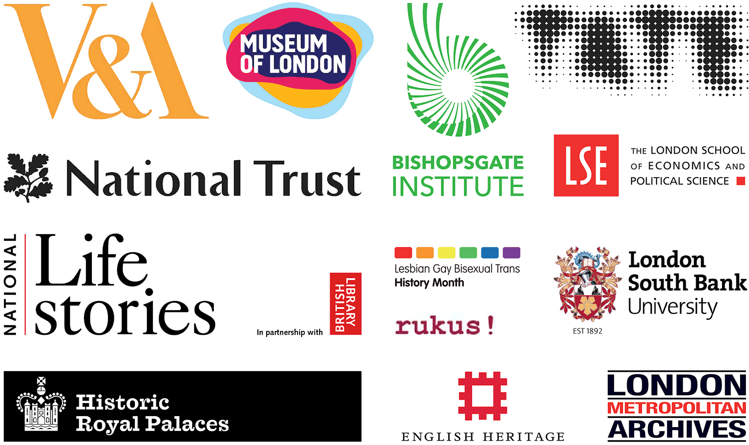 Logo panel of Queer Britain's supportive friends