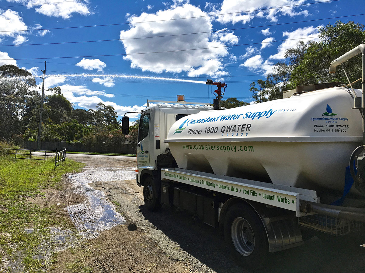 QLD Water Supply truck side with logo