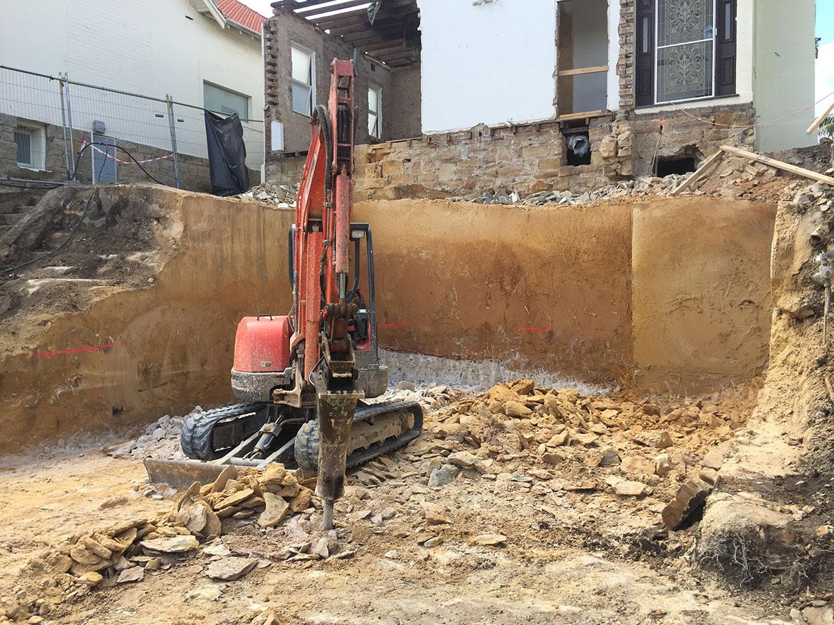 Rick-Davis-Contracting-Mini-Excavator-with-Rock-Breaker-Attachment-Sydney