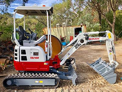 Rick Davis Contracting Compactor Hire Sydney 1.5 Tonne Takeuchi TB215R Excavator