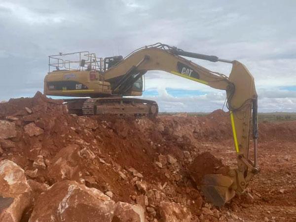 Large excavator digging