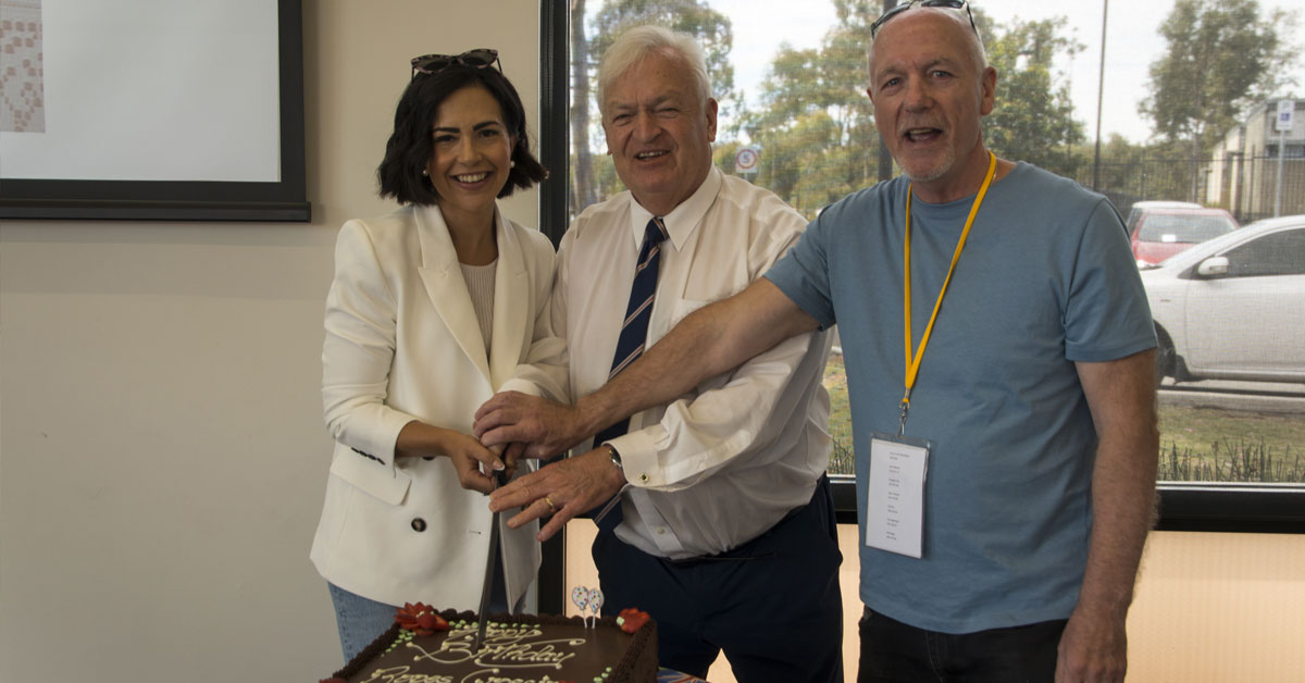 Tony Bleasdael, Mayor of Blacktown & Local Member, Prue Carr were joined in by cutting the birthday cake at The Hub