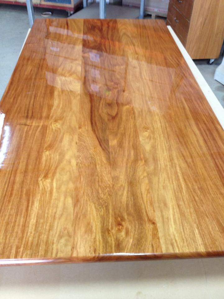 Solid rosewood benchtop painted with 2 pack polyurethane.
