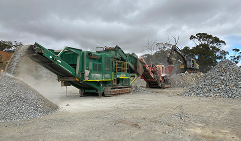 McCloskey C44 Cone Crusher with Terex Finlay J-1175 Jaw Crusher