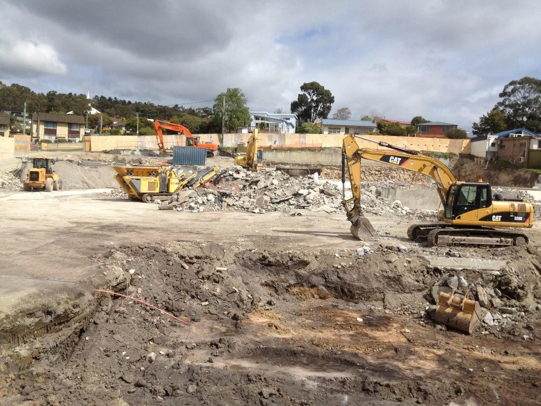 Spectran Group Channel Court Redevelopment Excavator Hobart