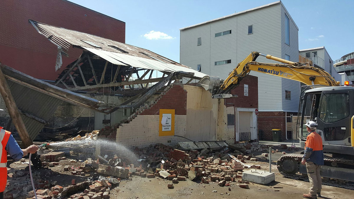 Spectran-Group-Demolition-with-Excavator-Hobart