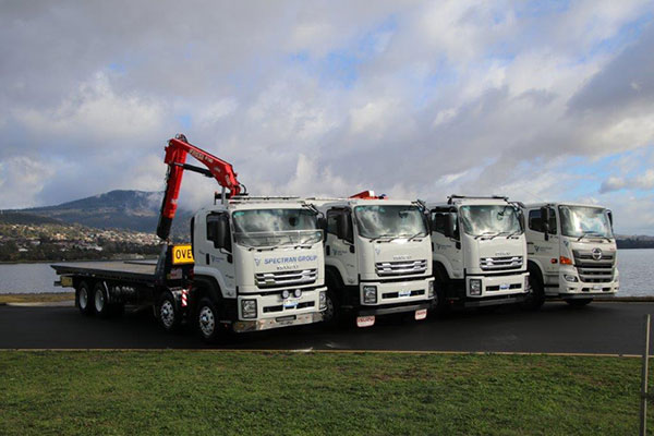 Spectran-Group-Flatbed-Crane-Truck-Hire-Fleet-Hobart