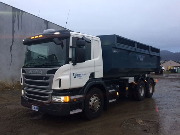Spectran-Group-Truck-with-Skip-Bin-Hire-Hobart