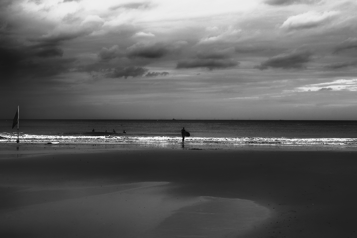 A black and white beach landscape of Cromer beach in Norfolk