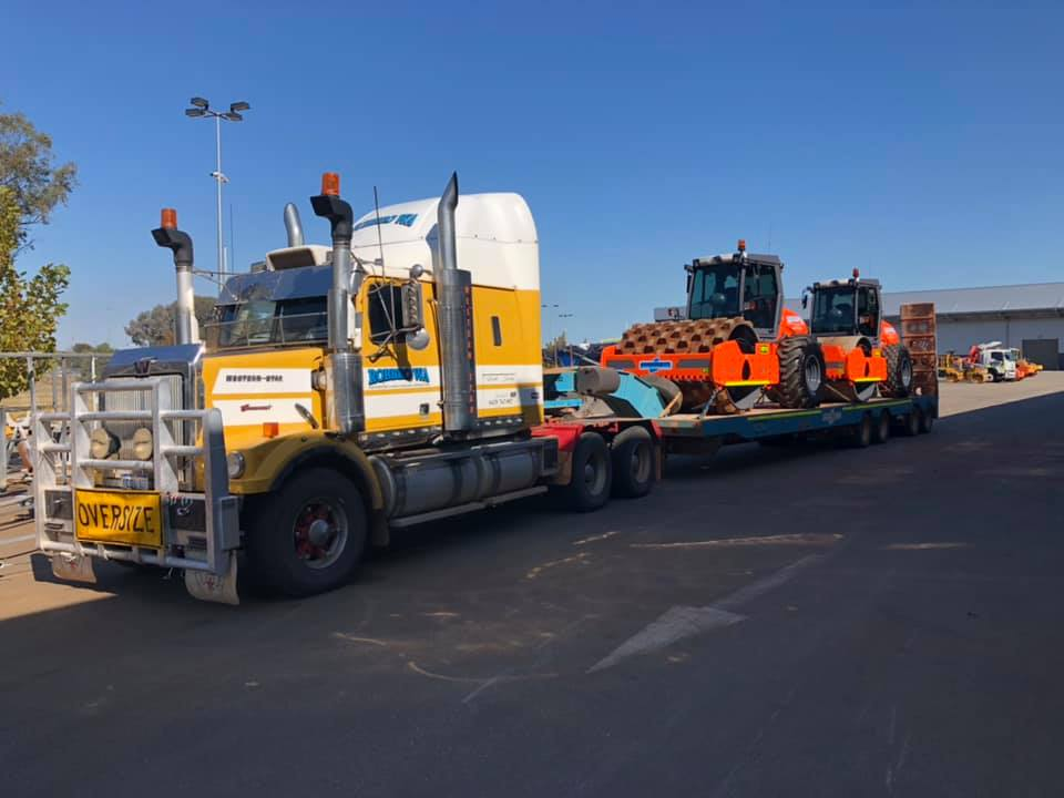 Road train with rollers