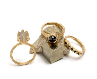 Tessa Blazey: rose cut black diamonds & 18ct yellow gold | Unique handmade engagement ring Melbourne | custom jewellery