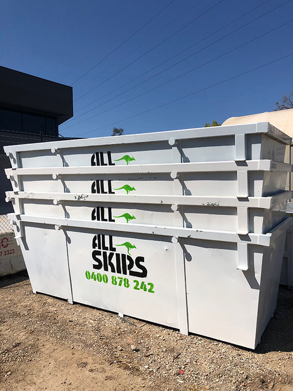 All Skips stacked skip bins for hire Penrith Sydney Blue Mountains