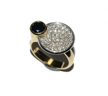 18ct white and yellow gold diamond dish ring with black diamond by Robyn Wernicke.