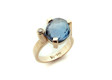 Rose cut blue topaz and diamond in 9ct rose gold by Robyn Wernicke.
