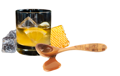Manuka Honey Whisky Sour in a short glass over ice