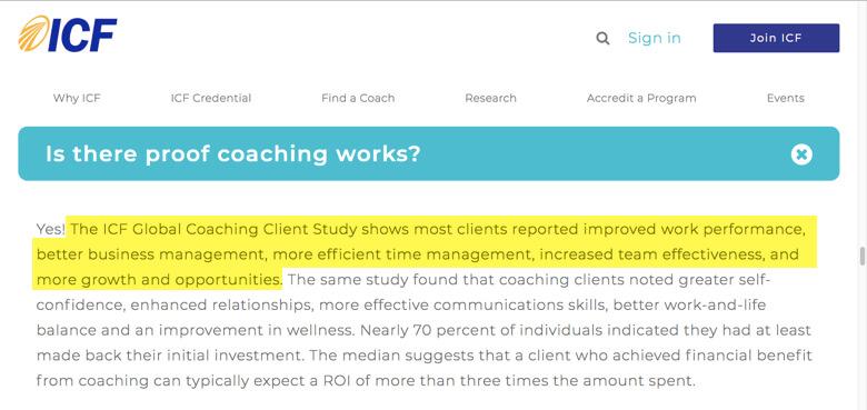 Los resultados de coaching empresarial segun la ICF